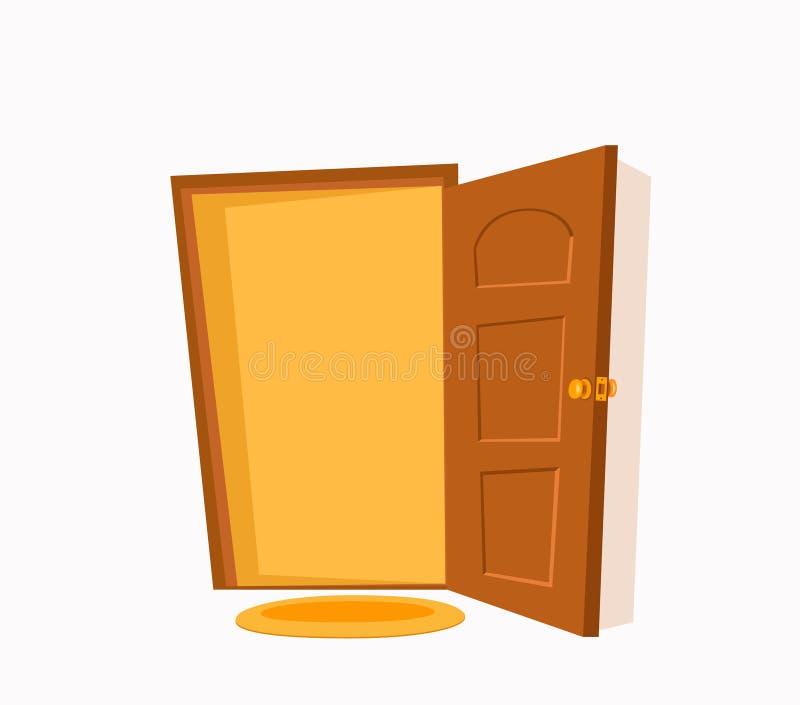 De open kleurrijke vector vlakke illustratie van het deurbeeldverhaal stock illustratie