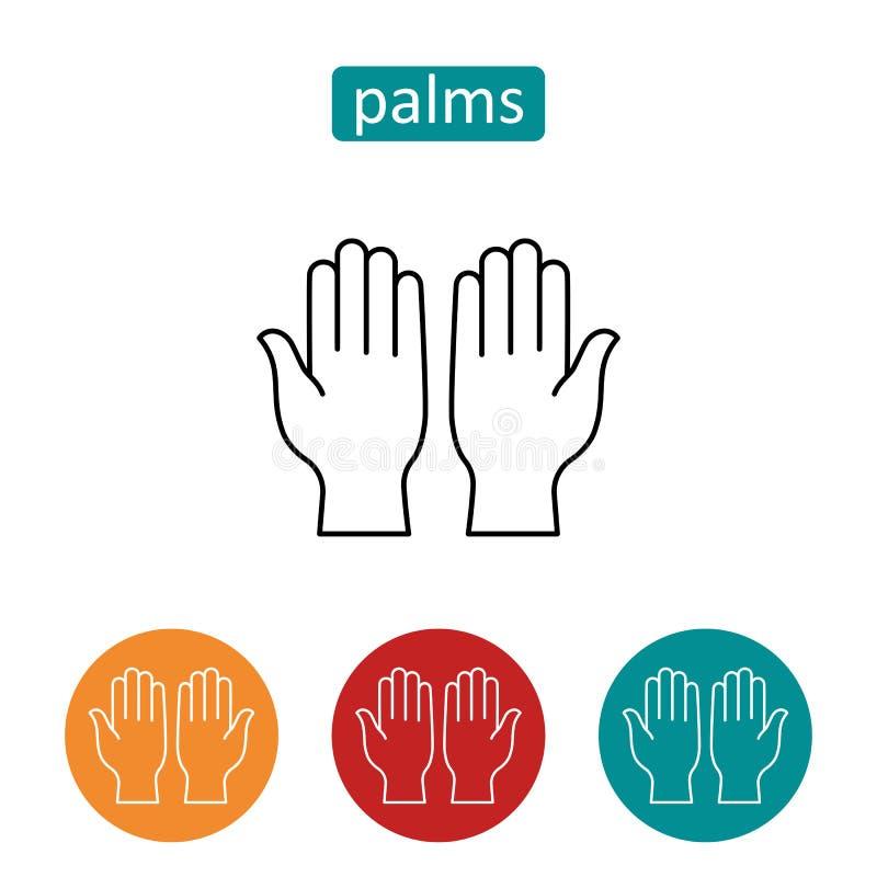 De open menselijke geplaatste pictogrammen van het palmenoverzicht stock illustratie