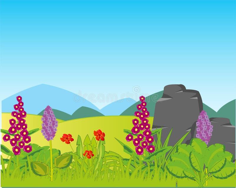 De open plek van het jaarlandschap met installaties en verre bergen stock illustratie