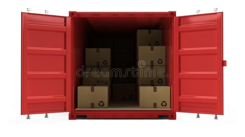 De open rode verschepende die container van de ladingsvracht met kartondozen op wit worden geïsoleerd vector illustratie