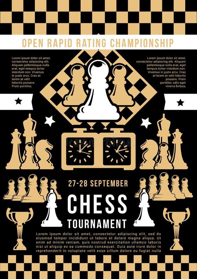 De open toernooien van het schaakspel, vector vector illustratie