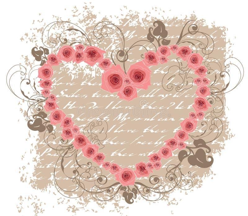 De open valentijnskaart van het de liefdegedicht van hart roze rozen stock illustratie