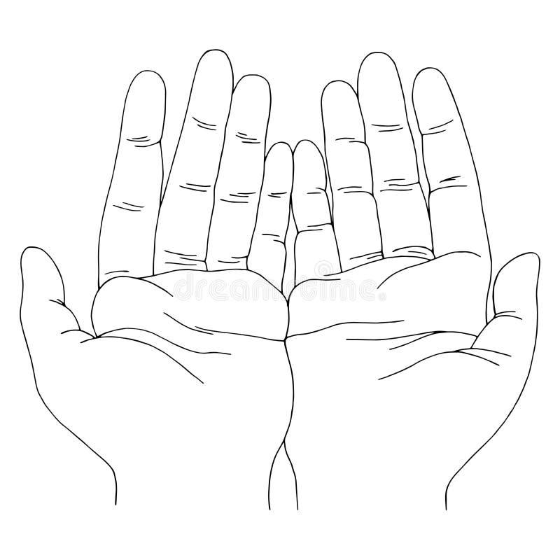 De open vector van de de schetsillustratie van de handen grafische zwarte witte krabbel stock illustratie