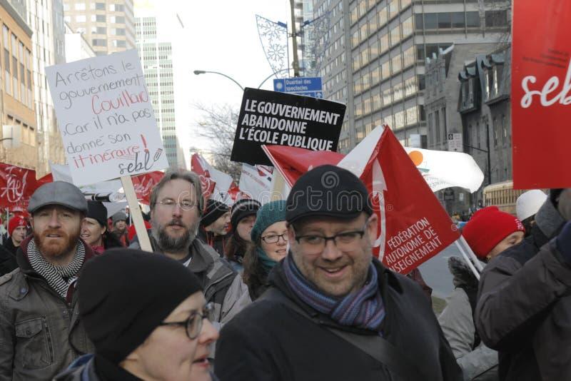 De openbare sectorstakingen van Quebec stock foto