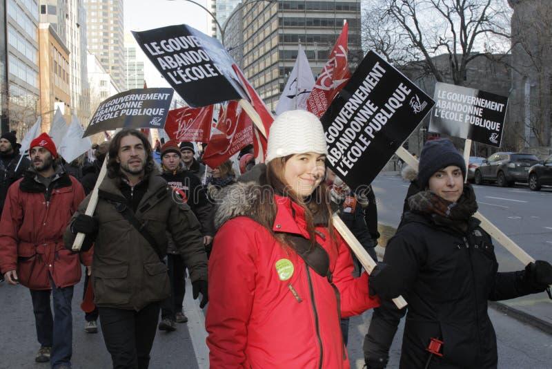 De openbare sectorstakingen van Quebec stock foto's