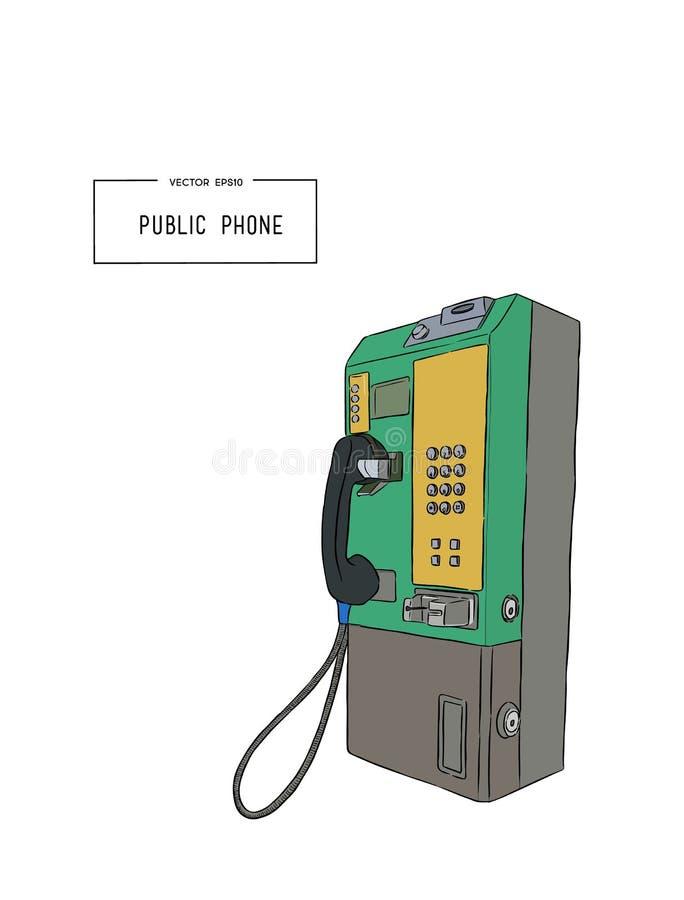 De openbare telefoonhand trekt schetsvector vector illustratie