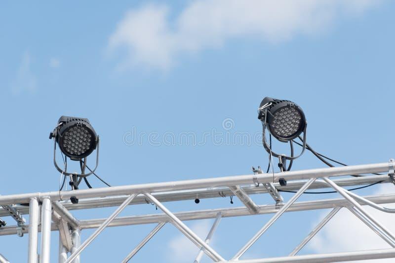 De openlucht Lichten van het Stadium stock foto