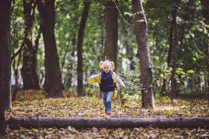 De openluchtactiviteiten van themakinderen De grappige gangen die van weinig baby Kaukasische blonde meisje door bos hindernissen royalty-vrije stock fotografie