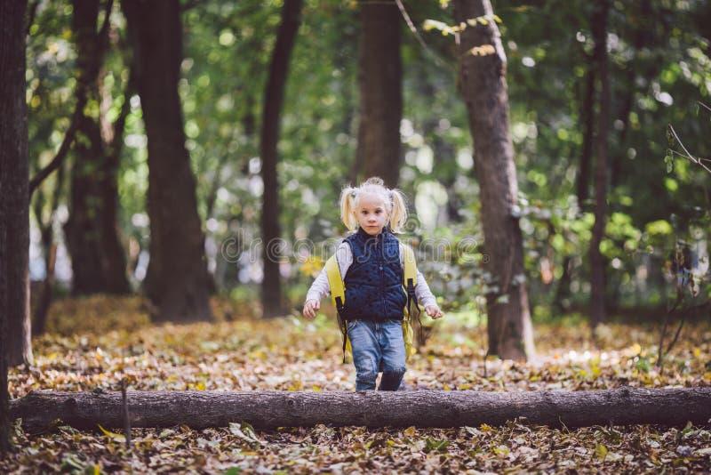 De openluchtactiviteiten van themakinderen De grappige gangen die van weinig baby Kaukasische blonde meisje door bos hindernissen royalty-vrije stock foto's