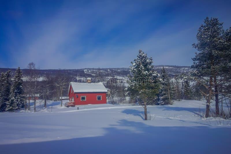 De openluchtmening van rode houten typisch housecovered met sneeuw in het dak in GOL royalty-vrije stock afbeeldingen