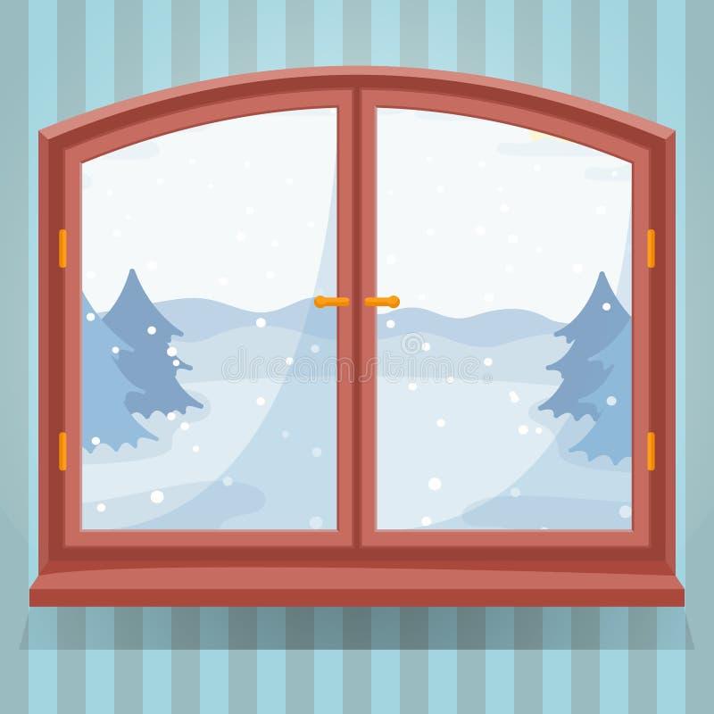 De openluchtmening van de sneeuwwinter in houten venster, de winterlandschap met nette bomen door venster, plattelandshuis of vector illustratie