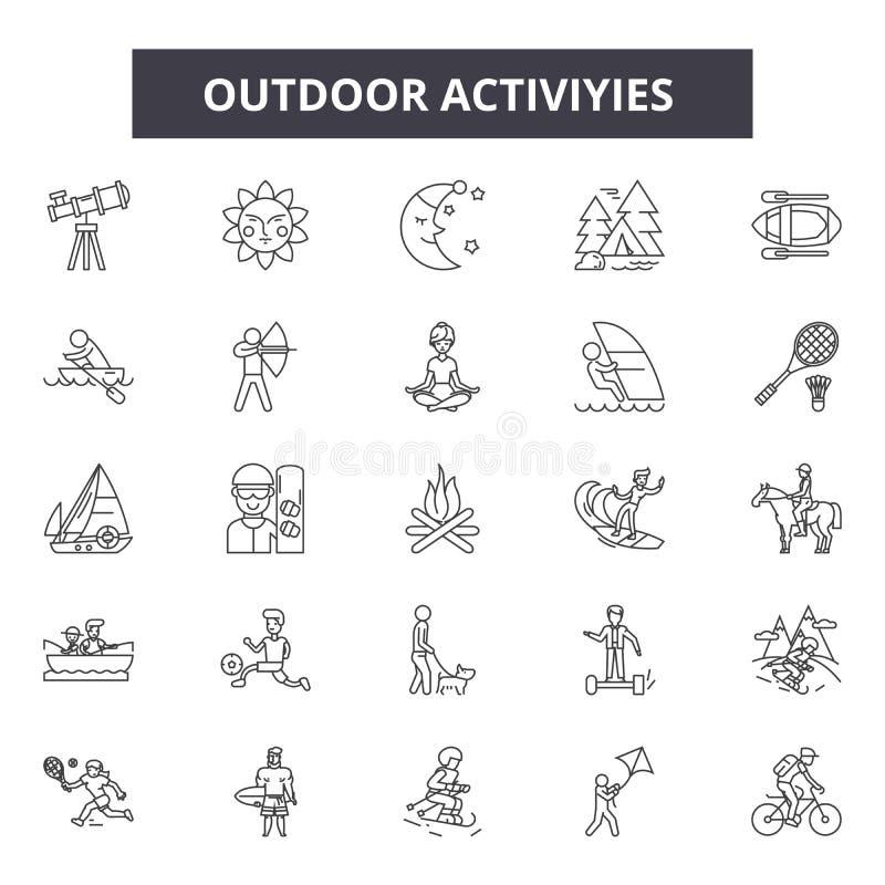De openluchtpictogrammen van de activiteitenlijn, tekens, vectorreeks, het concept van de overzichtsillustratie vector illustratie