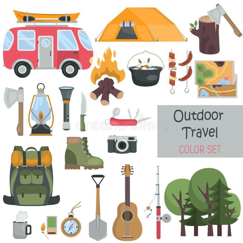 De openluchtreiselementen kleuren vlakke geplaatste pictogrammen vector illustratie