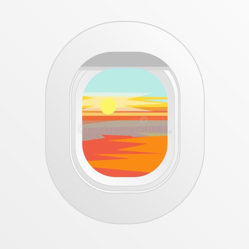De Openluchtzon van het vliegtuigvenster en Wolkenmening Vector royalty-vrije illustratie