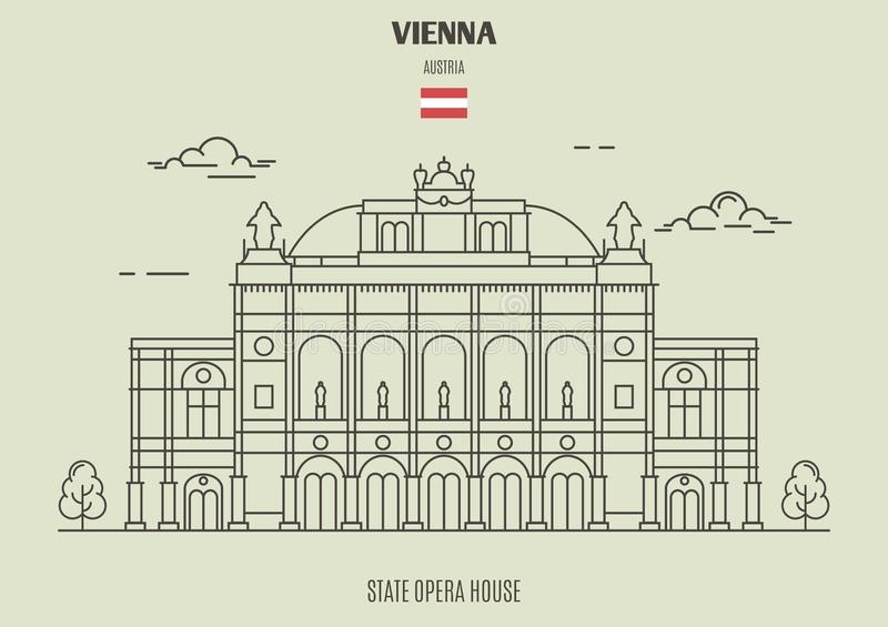 De Opera Housel van de staat in Wenen, Oostenrijk Oriëntatiepuntpictogram stock illustratie