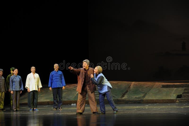 De opera van de verwachtingenjiangxi van het oude paar een weeghaak stock foto's