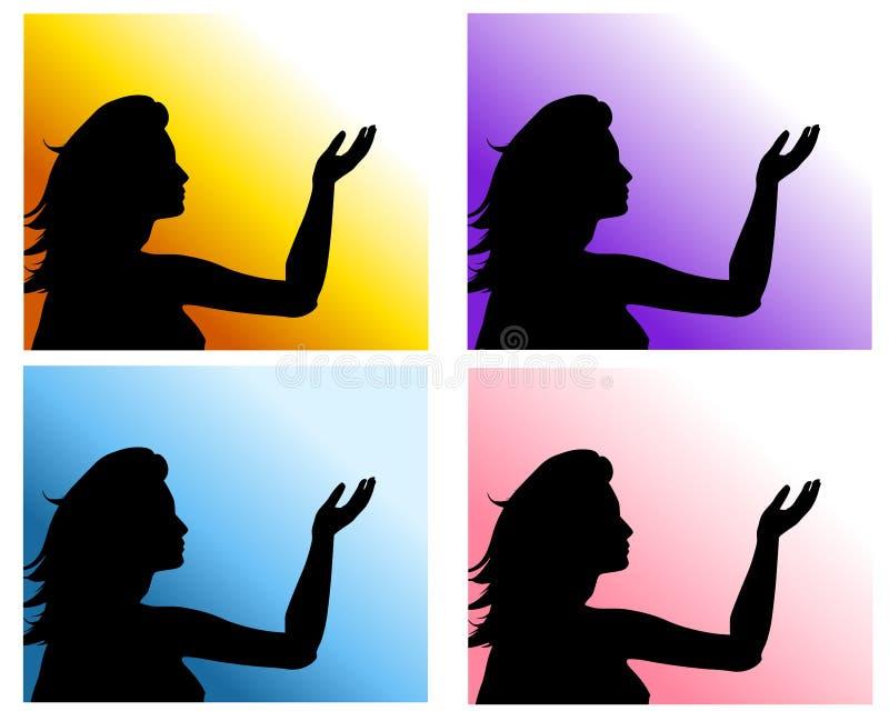De Opgeheven Achtergronden van de vrouw Hand stock illustratie