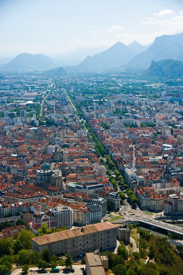 De opgeheven mening van Grenoble satellietbeeld stock afbeelding