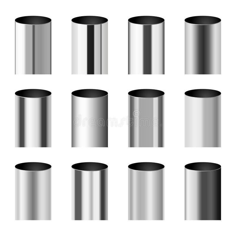 De opgepoetste gradiënten die van Chrome metaal aan de vectorreeks van de cilinderpijp beantwoorden stock illustratie