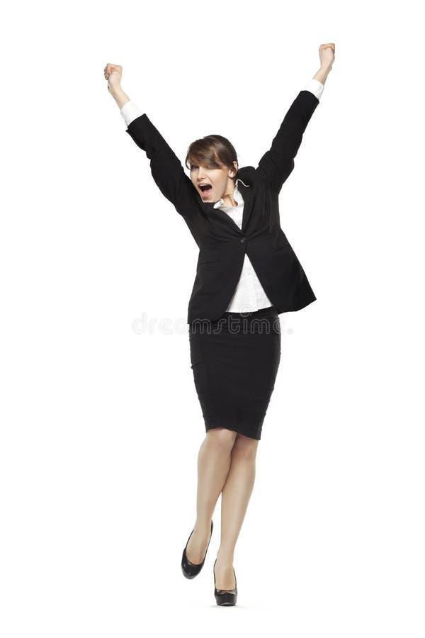 De opgewekte bedrijfsvrouwenholding overhandigt op het schreeuwen, vooraanzicht, fu stock foto