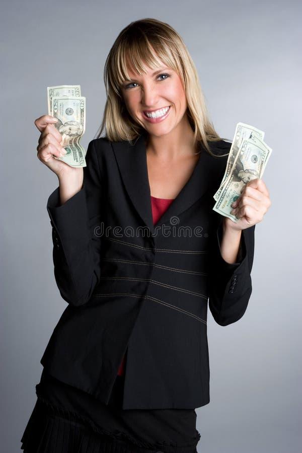 De opgewekte Vrouw van het Geld stock foto