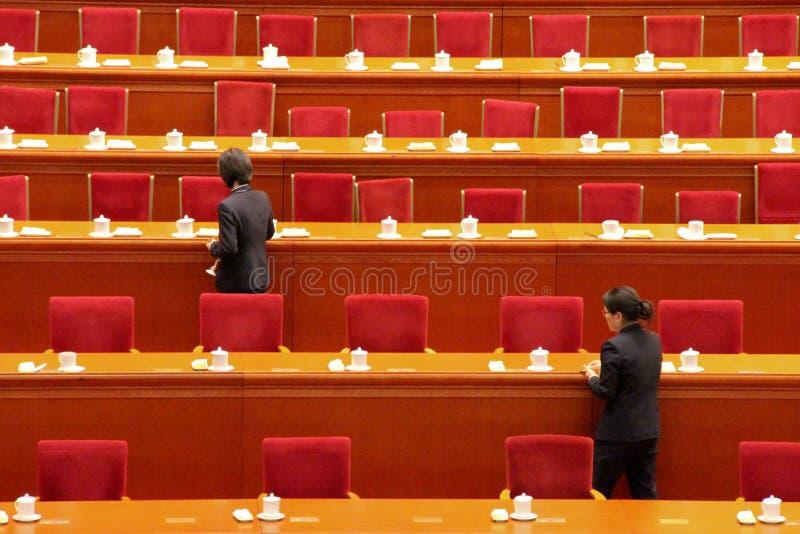 De ophelderingslijsten van het de dienstpersoneel na het parlementszitting van China stock fotografie