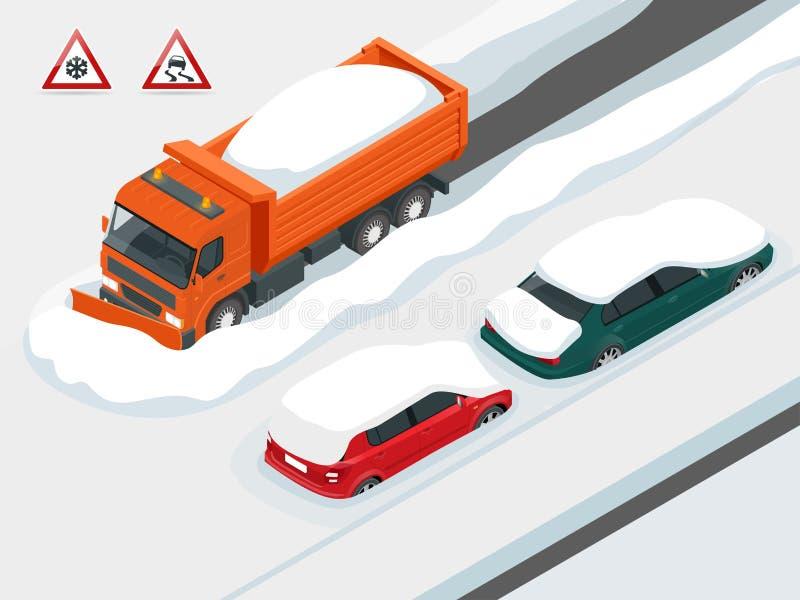 De ophelderingsweg van de sneeuwploegvrachtwagen na white-out de blizzard van de de wintersneeuwstorm voor voertuigtoegang Auto's vector illustratie