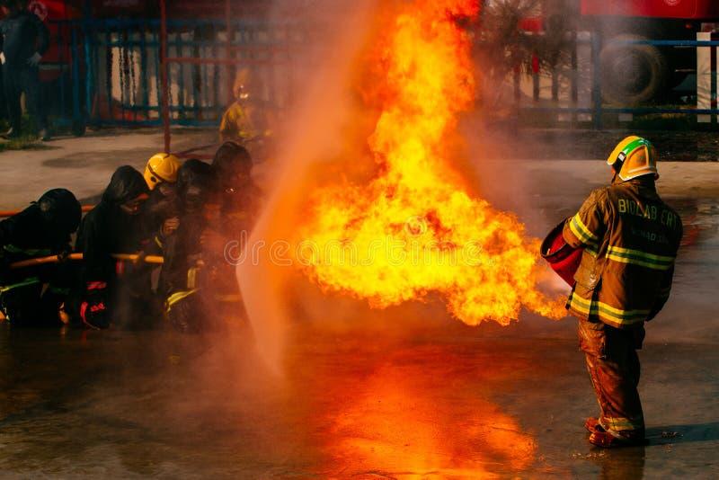 De opleiding van de brandbestrijder stock foto's