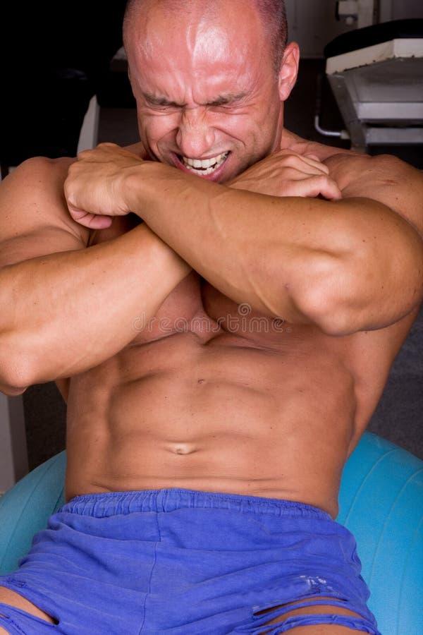 De opleiding van de bodybuilder stock afbeeldingen