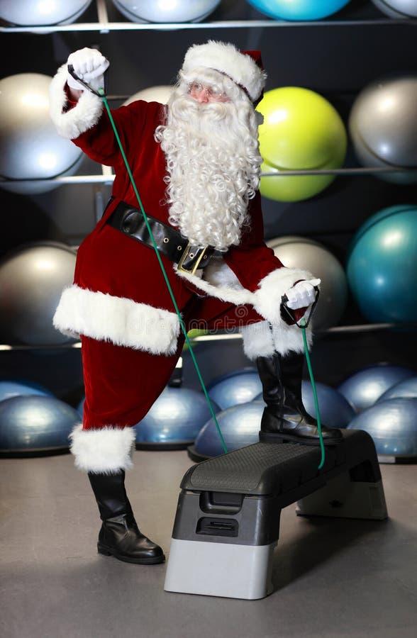 De opleiding van de Kerstman vóór Kerstmis stock foto
