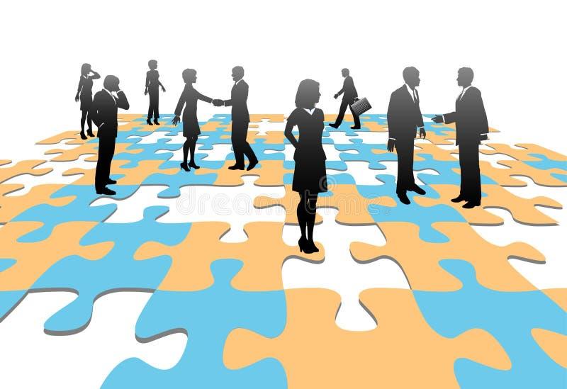 De oplossing de stukken van het van de bedrijfs puzzel mensenteam stock illustratie
