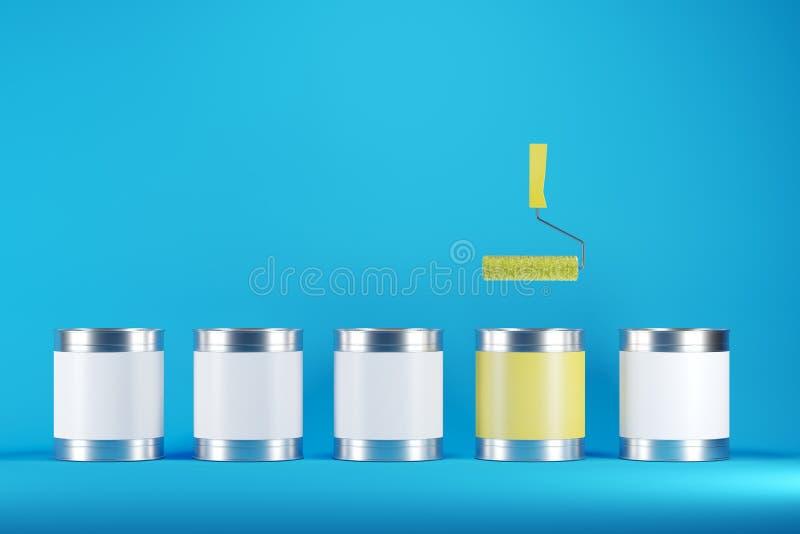 De opmerkelijke gele verfemmer en de gele verfrol onder witte verfemmers op blauwe achtergrond kleuren stock illustratie