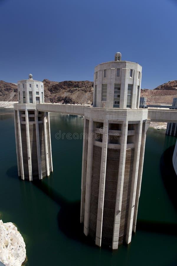 De Opnamen van het water bij de Dam Hoover stock fotografie