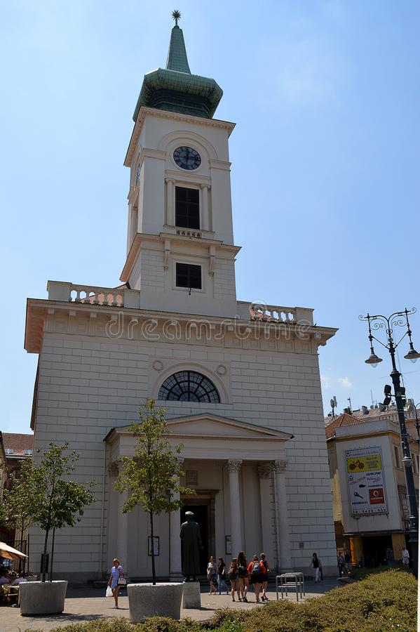 De Opnieuw gevormde Protestantse Kerk in Kalvin Square, Boedapest stock afbeelding