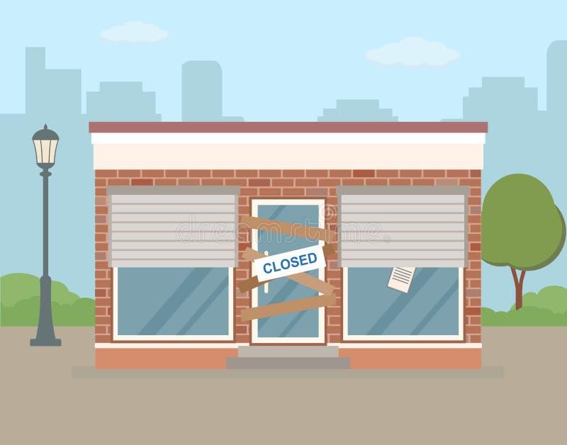 De opslag of de koffie zijn in staat van faillissement en gesloten royalty-vrije illustratie
