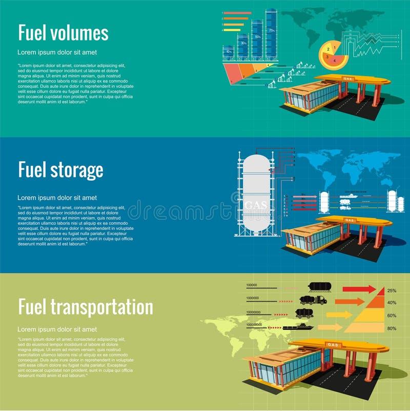 De opslag van de benzinestationbrandstof, volumes en vervoers bedrijfs plannings voordelig idee Drie vlakke conceptenachtergrond vector illustratie