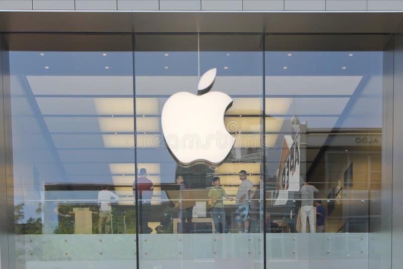 De opslag van de appel op de straat van steCatherine in Montreal royalty-vrije stock foto