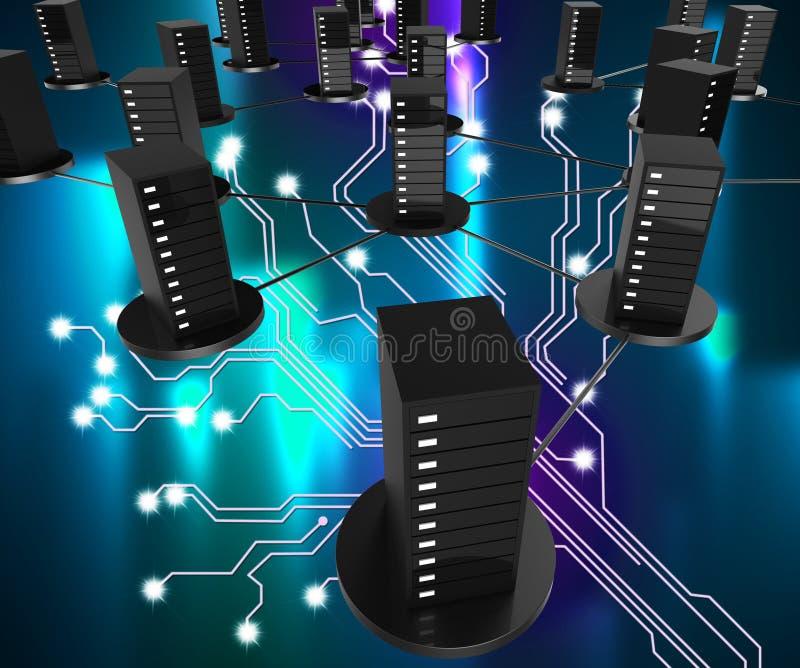 De Opslag van de netwerkcomputer toont Online en Digitaal Web vector illustratie