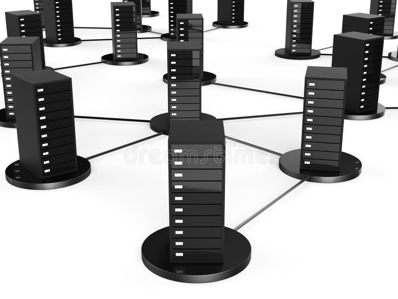De Opslag van de netwerkcomputer wijst op Globale Mededelingen en Gegevensverwerking stock illustratie