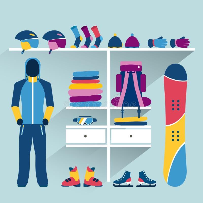 De opslag van de skisport De boutique van de winteractiviteiten binnen F royalty-vrije illustratie