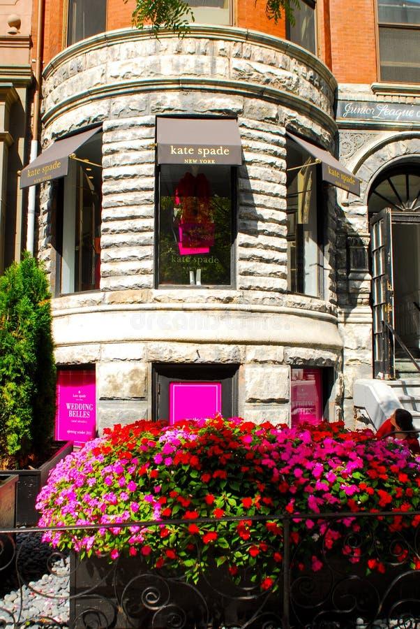 De Opslag van de Spade van Kate op Newbury Straat, Boston, doctorandus in de letteren. royalty-vrije stock foto