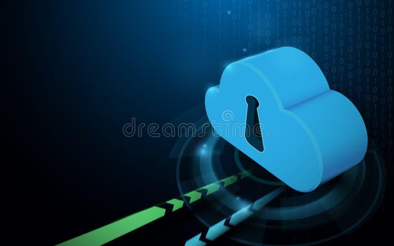 De opslag van wolkengegevens met het conceptenachtergrond van technologie digitale hallo technologie royalty-vrije illustratie