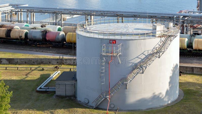 De opslagtank van de satellietbeeld witte brandstof Ladingstank bij de spoorwegterminal, olievervoer royalty-vrije stock foto