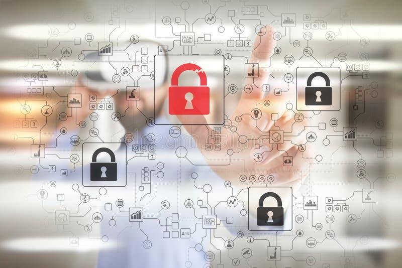 De opsporing van de Cyberaanval Internet-veiligheid, informatie en het concept van de gegevensveiligheid GDPR privacy royalty-vrije illustratie