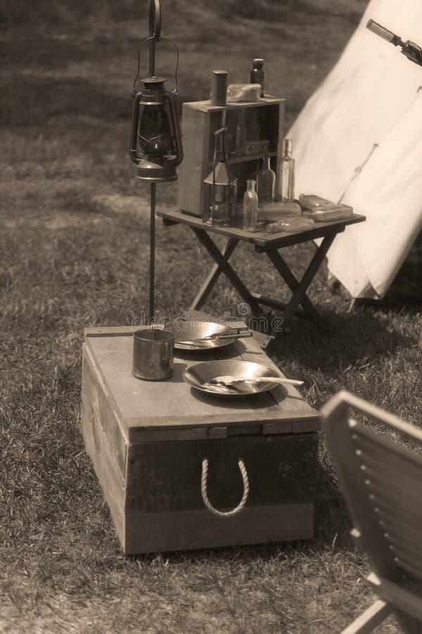 De Opstelling van het Kamp van het Weer invoeren van de Burgeroorlog royalty-vrije stock foto