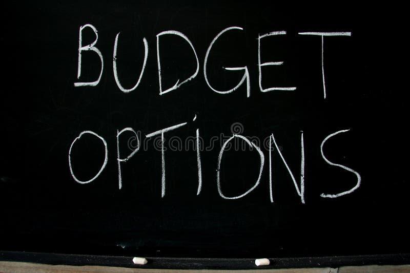 De opties van de begroting