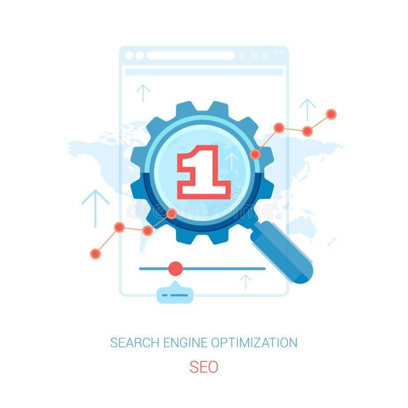 De optimalisering en het onderzoek die van SEO vlakke pictogrammen op de markt brengen stock illustratie
