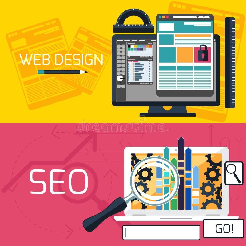 De optimalisering en het Webontwerpbanners van SEO royalty-vrije illustratie