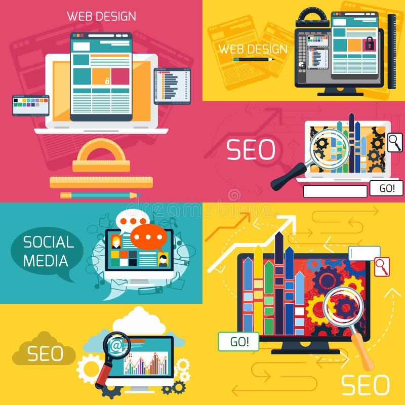 De optimalisering en het Webontwerpbanners van SEO vector illustratie