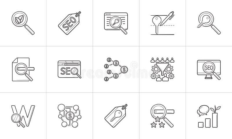 De optimalisering en de marketing van SEO hand getrokken het pictogramreeks van de overzichtskrabbel royalty-vrije illustratie